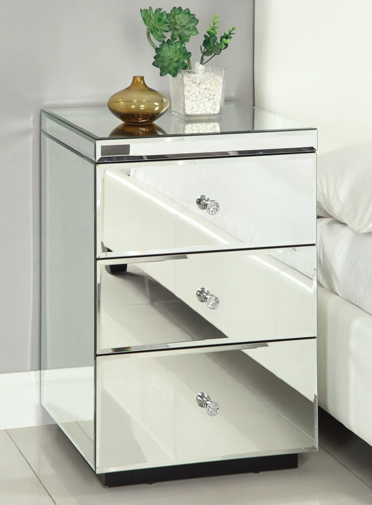 Details About Rio Crystal Mirrored Bedside Table Chest Nightstand