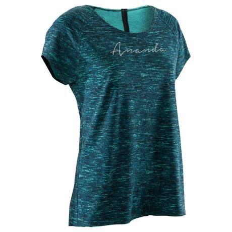 T shirt yoga en coton issu de l agriculture biologique femme VERT Domyos by  Decathlon 2416a08922d