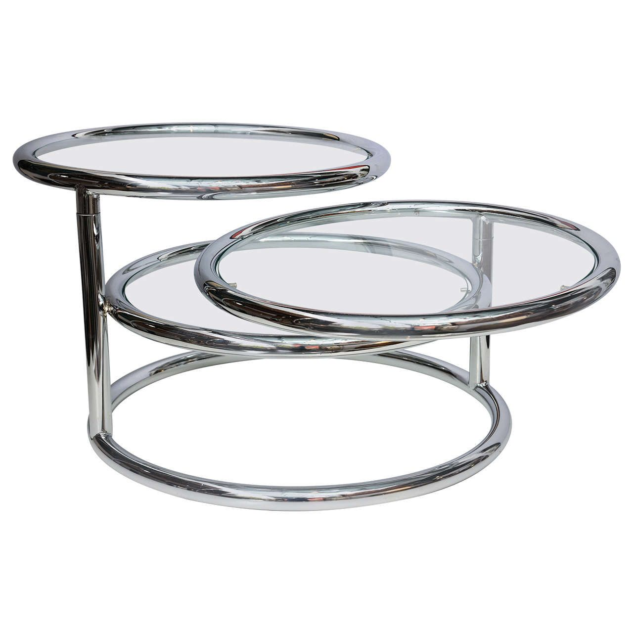 milo baughman style swivel tiered circles coffee table | coffee