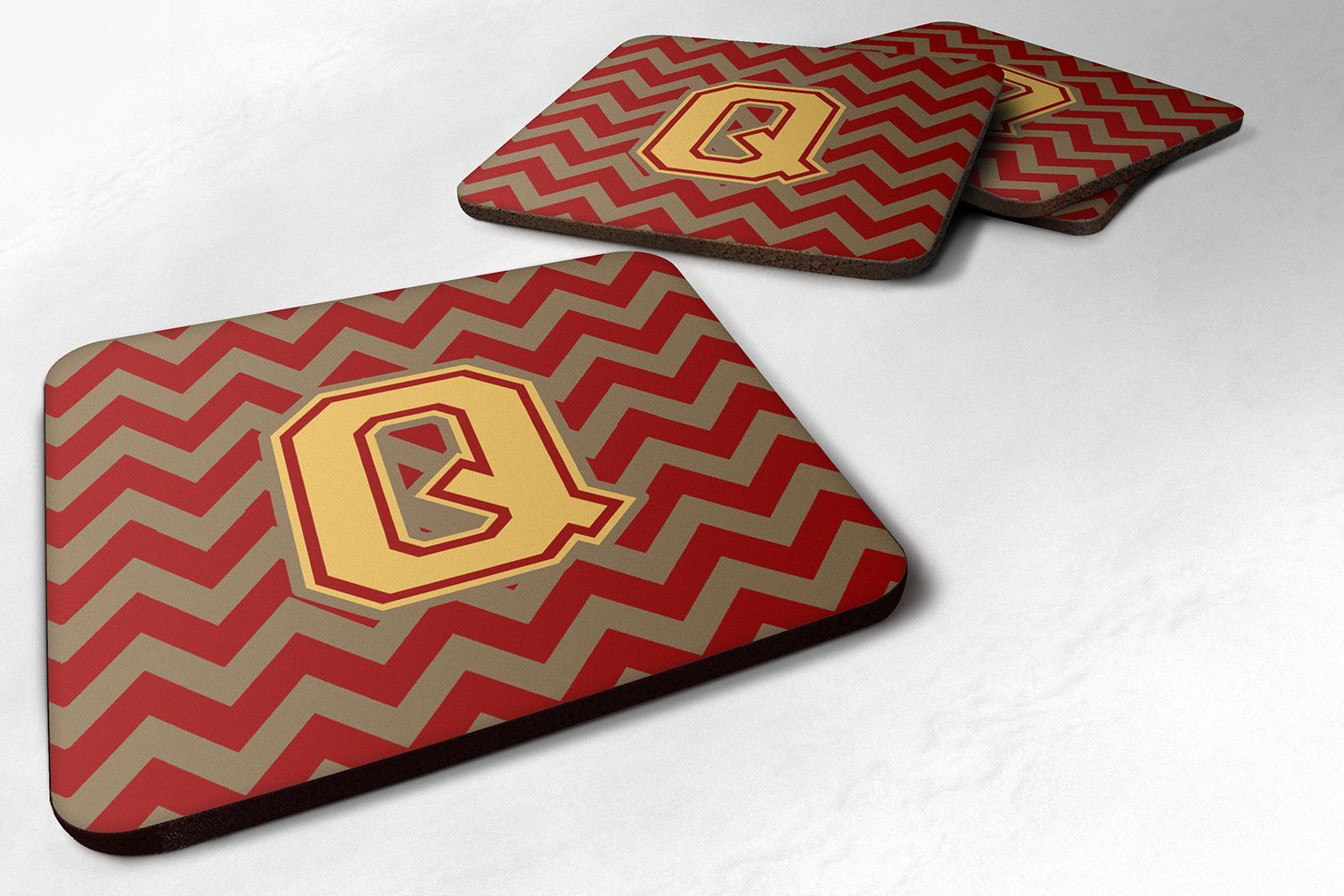 Letter Q Chevron Garnet and Gold Foam Coaster Set of 4 CJ1048-QFC