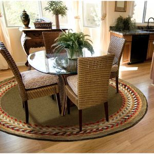 Orian Braid Border Round Rug Oregano Perfect For Under My