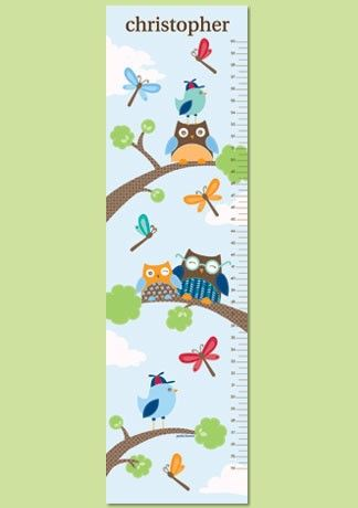 Personalized Owl Paper Growth Chart Hoot Hoot Boy By Petitelemon