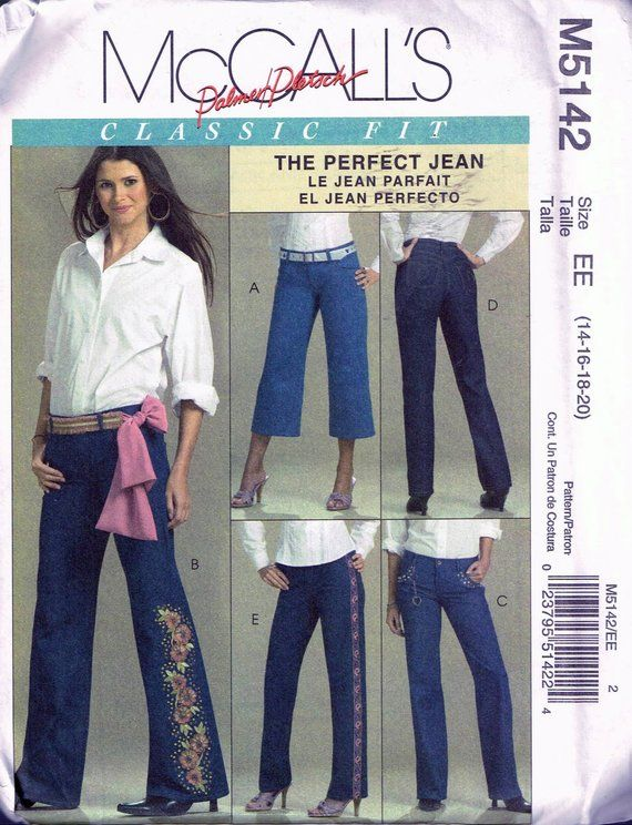 cfed980ac20 Misses  Size 14-20 Plus Size Jeans Sewing Pattern - Bootleg Pants Straight  Leg Pants - Capri Length