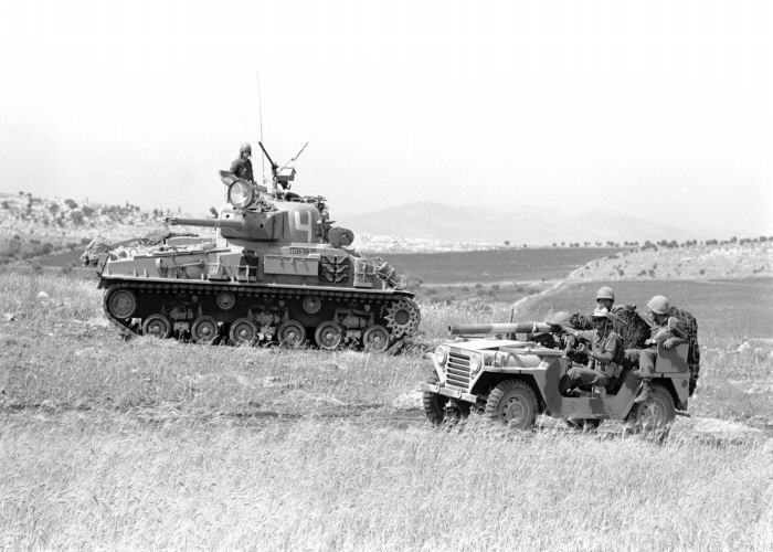 Israeli M50 Sherman And Jeep During Six Day War