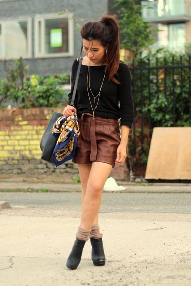 Brown Leather Shorts | Women's Look | ASOS Fashion Finder