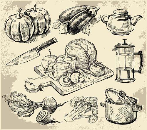 Set Of Sketch Kitchen Supplies Vector 01 Food Doodles