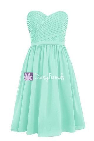 Classy Mint Green Chiffon Bridesmaids Dress Short Beach Party Dress ...