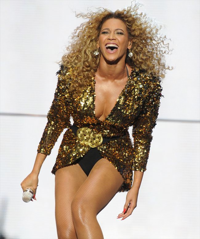 Beyonce Knowles takes to the stage at the half-time Super