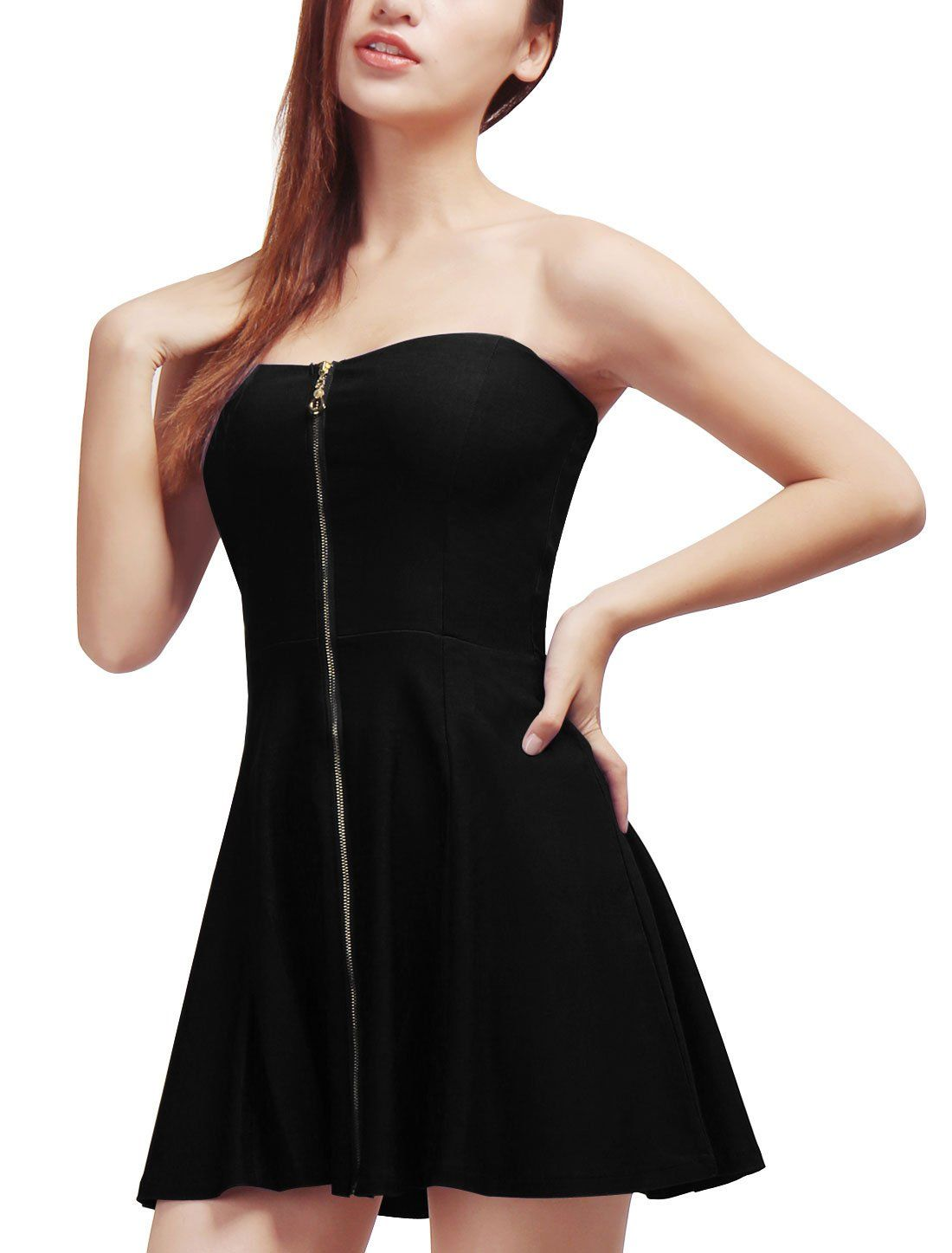 Black Zipper Front Strapless Mini Dress