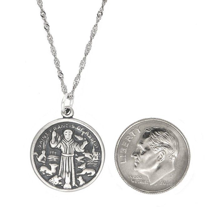 Sterling silver one sided saint francis of assisi charm with sterling silver one sided saint francis of assisi charm with singapore necklace 18 inches aloadofball Choice Image
