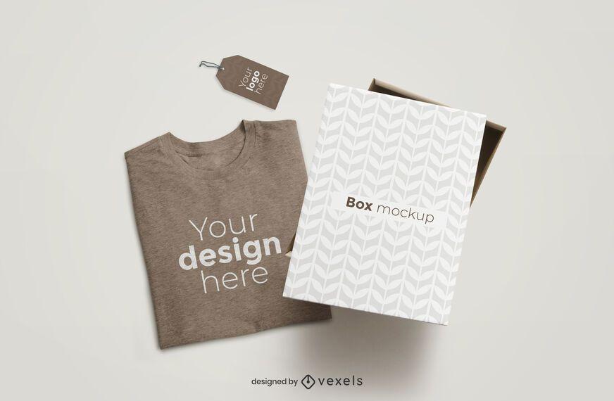 Download T Shirt Box And Tag Mockup Composition Ad Box Shirt Mockup Composition Tag Mockup Clothing Mockup Shirt Mockup