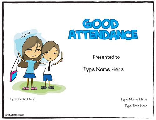 Doc960720 Free Perfect Attendance Certificate Template – Attendance Certificates Printable