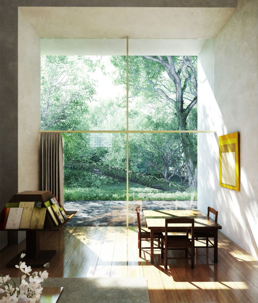 wooden floor / high ceiling / large window / yellow cross / casa barragan / by xoio / via creattica