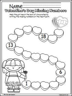 free valentines day number writing practice activity write the missing numbers from 1 to 20 - Valentine Worksheets Free