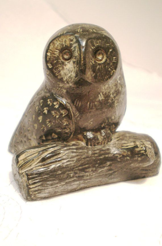 Vintage owl statue hand carved stone collectable a by