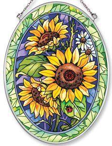 Cheerful Yellow Sunflower Glass Suncatcher