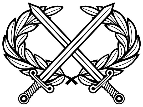Heraldic Cross Swords With Laurel Wreath Vector Clip Art