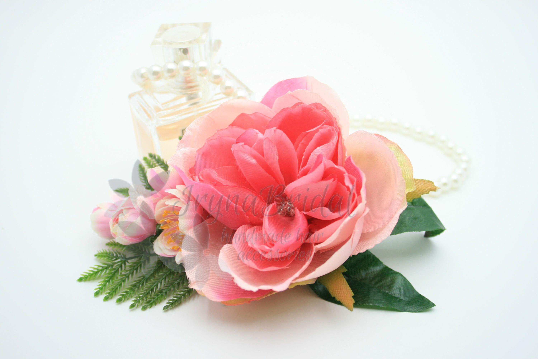 Wedding Bridal Flower Hair Clip Pink Peony Headpiece Silk Flower