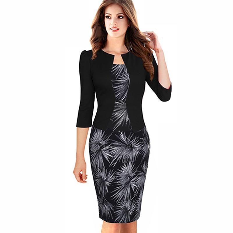Elegante Damen Business Büro Arbeit Formell Party Bodycon Mantel Bleistift Kleid