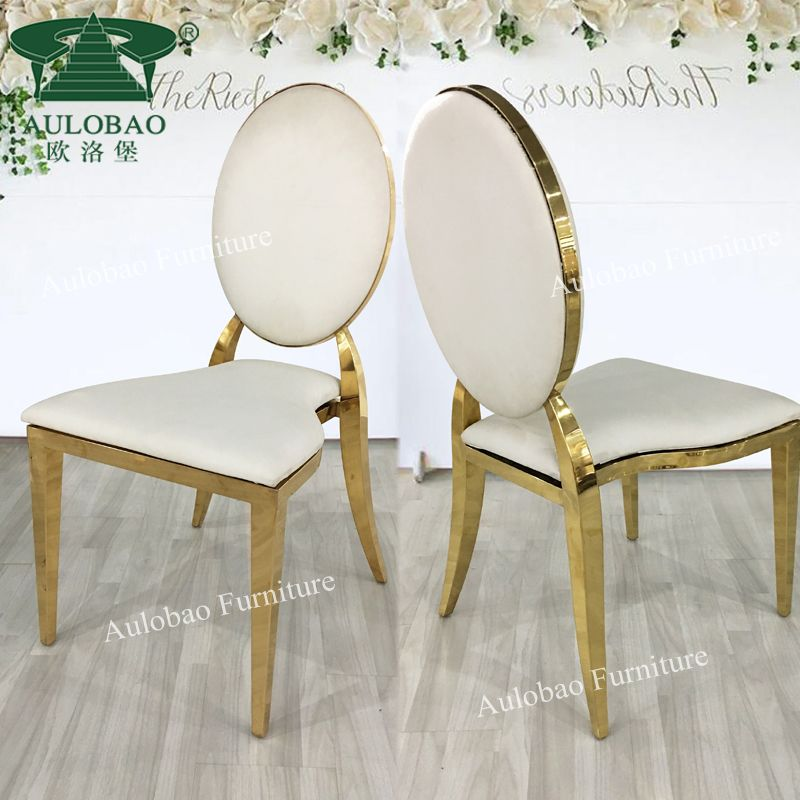 Stackable Oval Back Gold Stainless Steel Pu Leather Banquet Wedding Chair View Wedding Chair Aulobao Product Details From Foshan Hardware Furniture Co Ltd Wedding Chairs Gold Wedding Chairs Chair