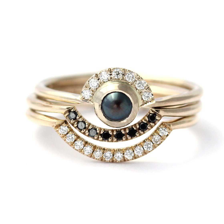Black Pearl Wedding Rings, Black Pearl Engagement Rings