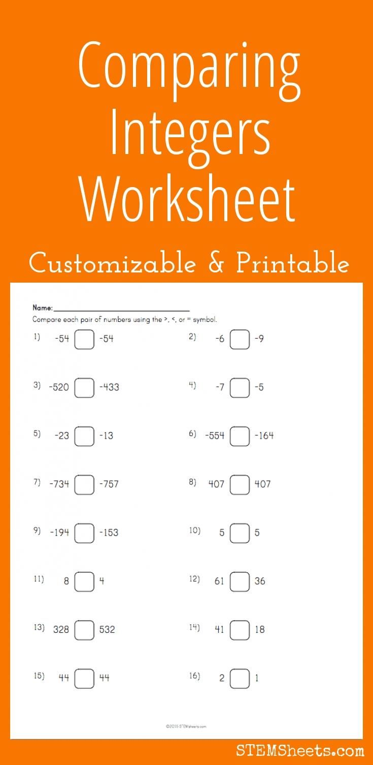 worksheet Comparing Integers Worksheet comparing integers worksheet customizable and printable math printable