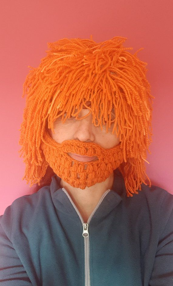 Orange hair hat Halloween Wig Beanie with Beard Crochet beard beanie Yarn hair hat Crazy festival Gift for him Cap Knit wig Wild man wig #crochetedbeards