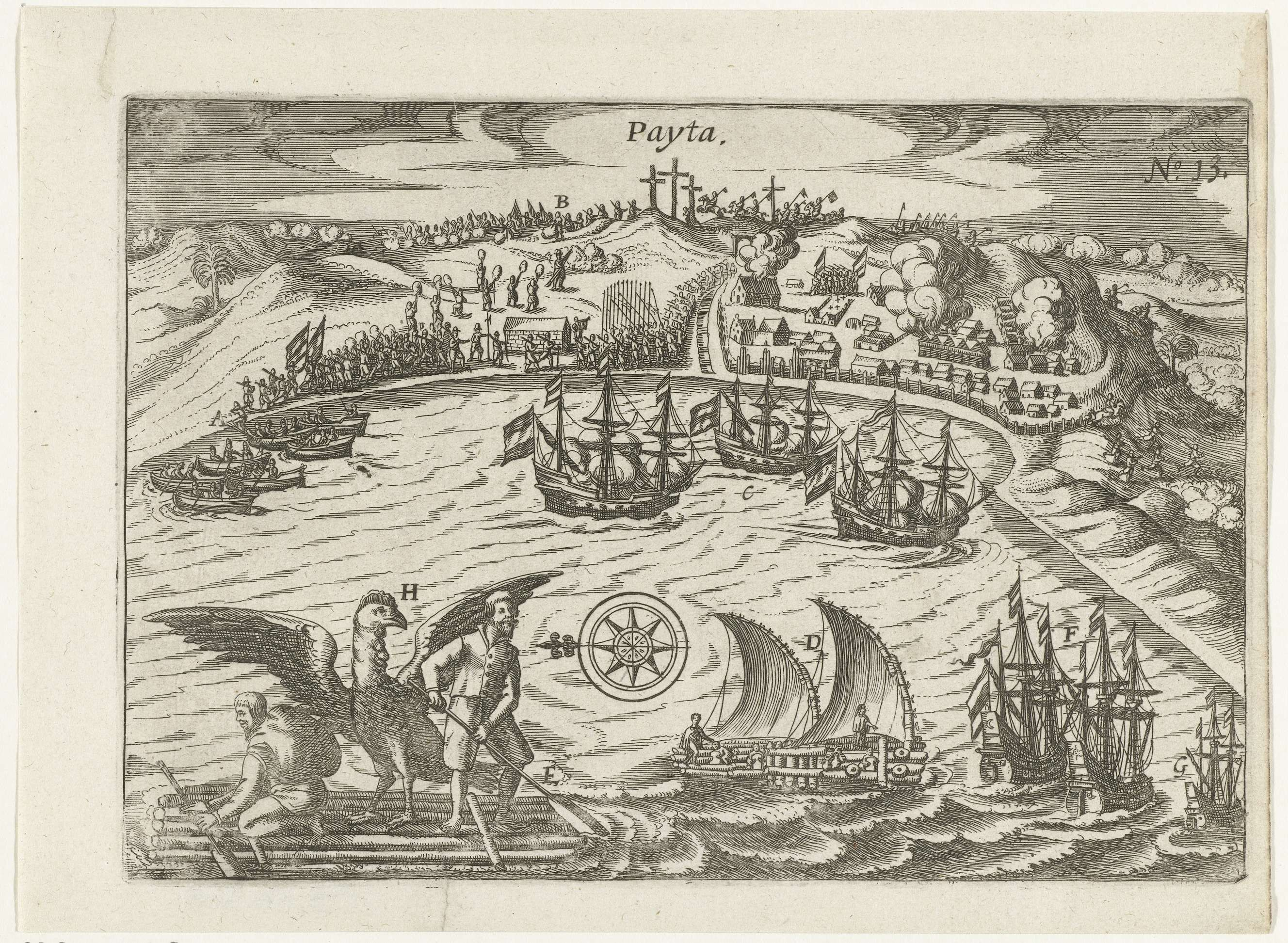 Anonymous | Verovering van Paita, 1615, Anonymous, 1617 - 1619 | Verovering van Paita in Peru, augustus 1615. Drie schepen in de baai beschieten de stad. Op het land gevechten met Spanjaarden. Linksonder voorbeeld van een vlot en een gier die nabij gevangen is. Onderdeel van de illustraties in het verslag van de reis van Joris van Spilbergen om de wereld, 1614-1617, No. 13.