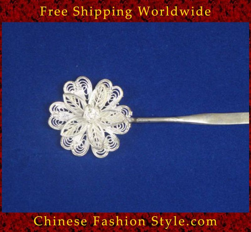 Interact China Handmade Silver Hair Accessories Stick Pin Tribal Ethnic Hmong Miao Jewelry #106 g7PFq9WWby