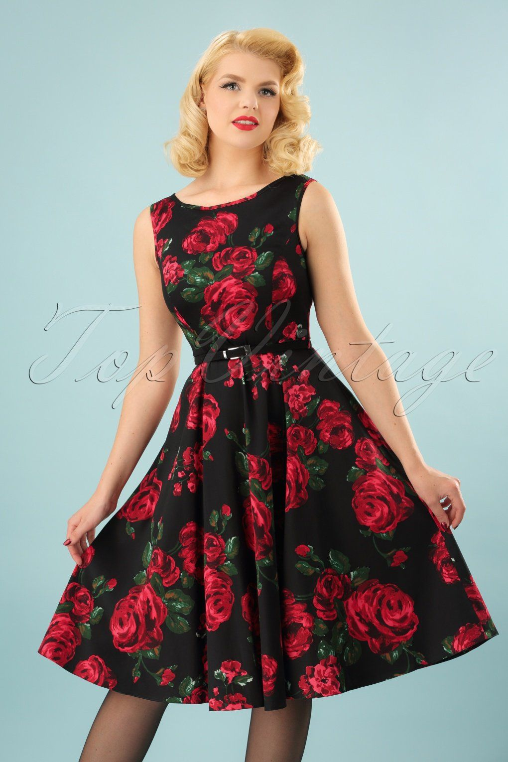 This 50s Hepburn Red Rose Dress In Black Makes Sure You Ll Be The Centre Of Attention The Hepburn Dress Has Been One Red Rose Dress Rose Dress Stunning Dresses [ 1530 x 1020 Pixel ]