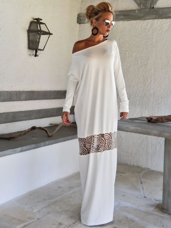 Ivory Maxi Dress Kaftan with Lace Mesh Details   by SynthiaCouture ... 69b70e1367