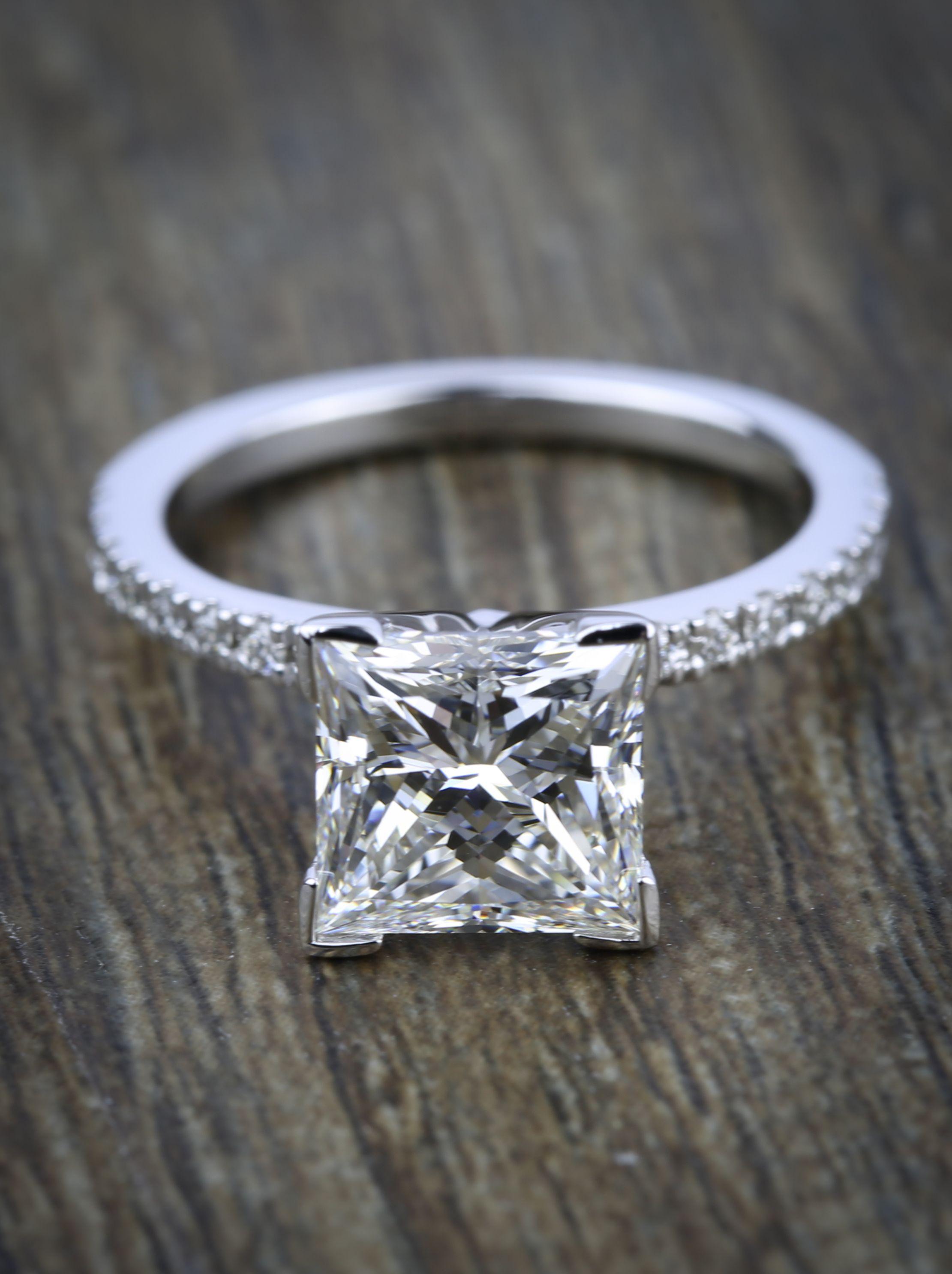 Petite pave princess diamond engagement ring ct i do