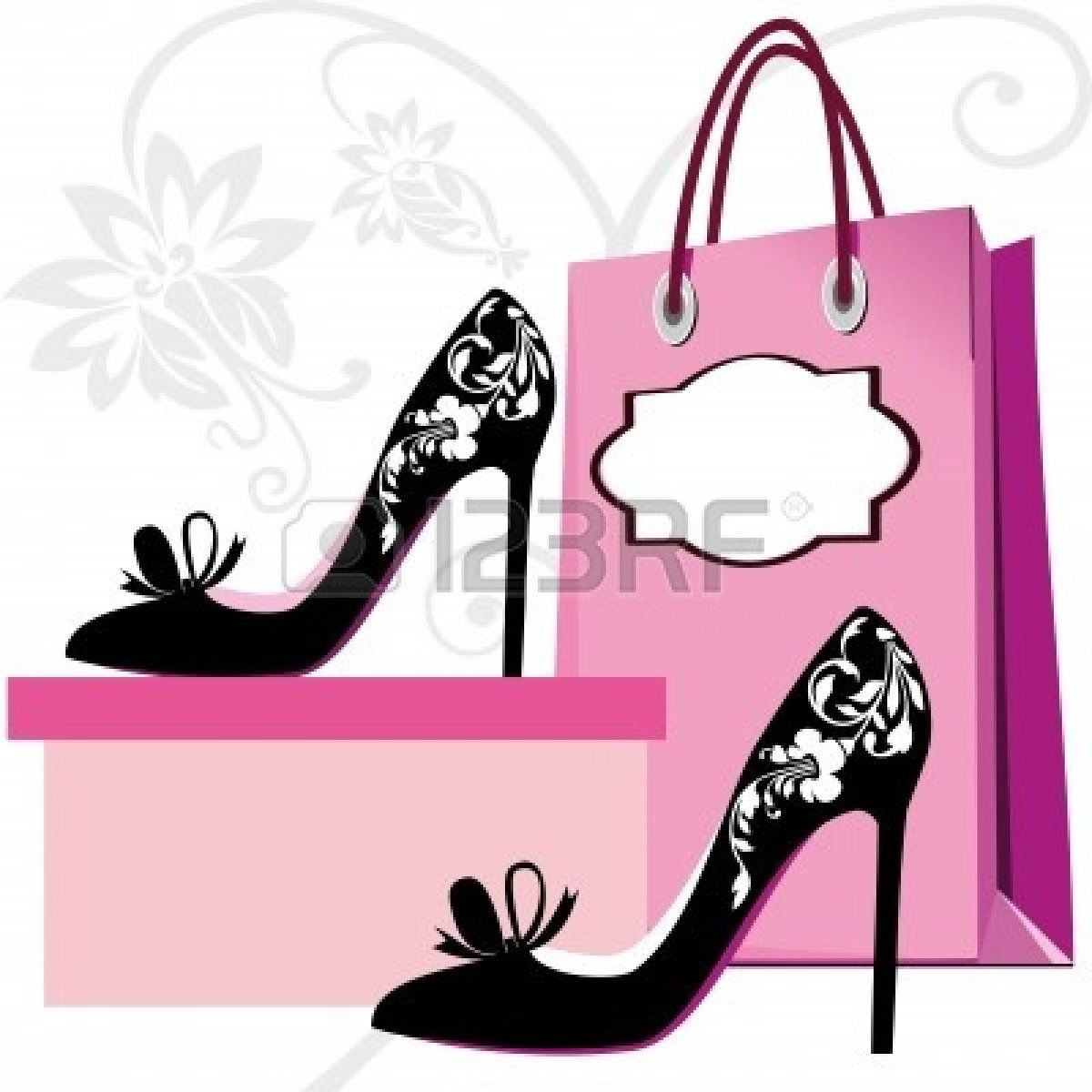 dbb761469cb boutique : Silhouettes of women shoes and shopping bag with floral ...