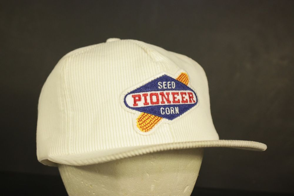 16cd8cc764b Vintage K Products Patch Hat Cap Corduroy White Farming Seed Pioneer Corn  Seed  KProducts  Trucker