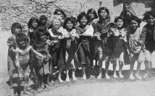 Hopi Children, at Oraibi, Waiting for a Scramble of Candy ...