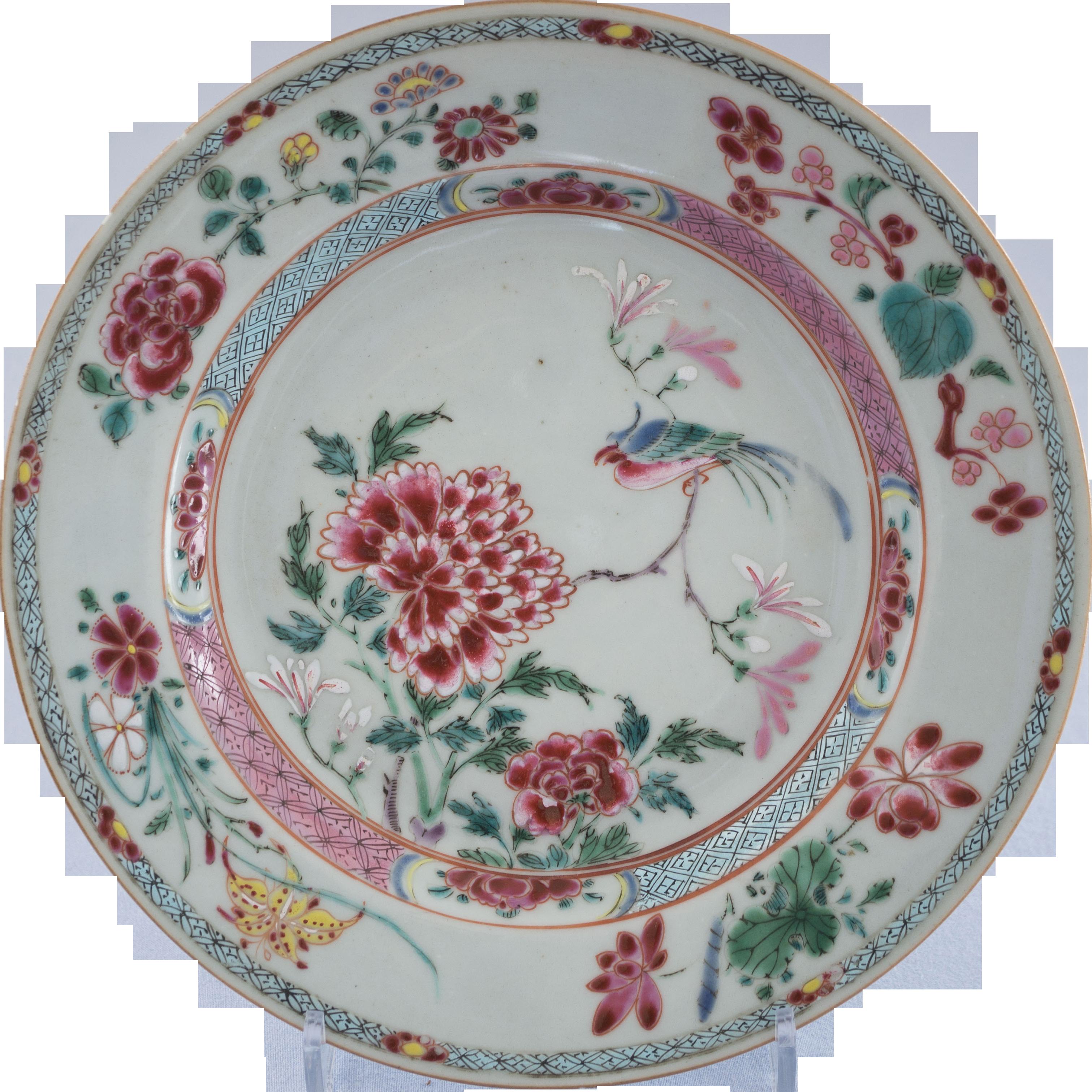 Chinese antique Qing dynasty Qianlong style colour enamel famille rose fencai porcelain plate.Chinese antique dish,Ornament,ceramic vintage