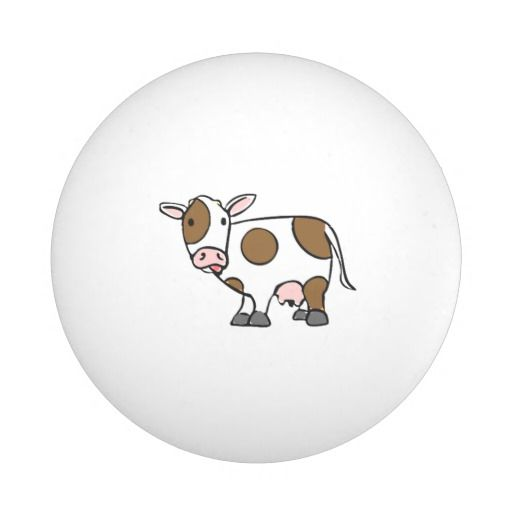Cute Cartoon Cow Brown And White Ping Pong Ball Zazzle Com Cartoon Cow Cute Cartoon Cartoon