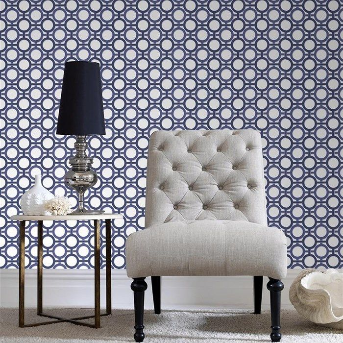 Enigma White Prussian Blue Blue And White Wallpaper Living Dining Room Decor
