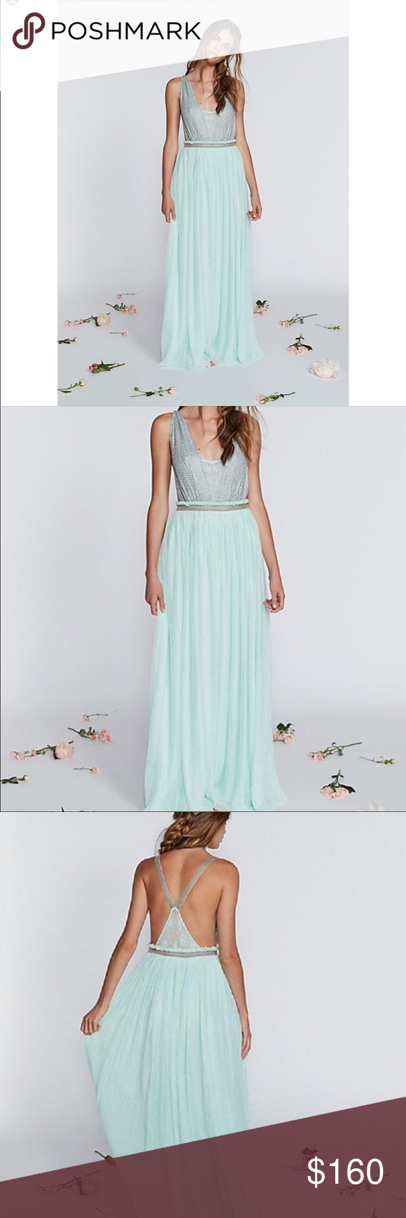 nwt free people mint cleo maxi dress boutique in my