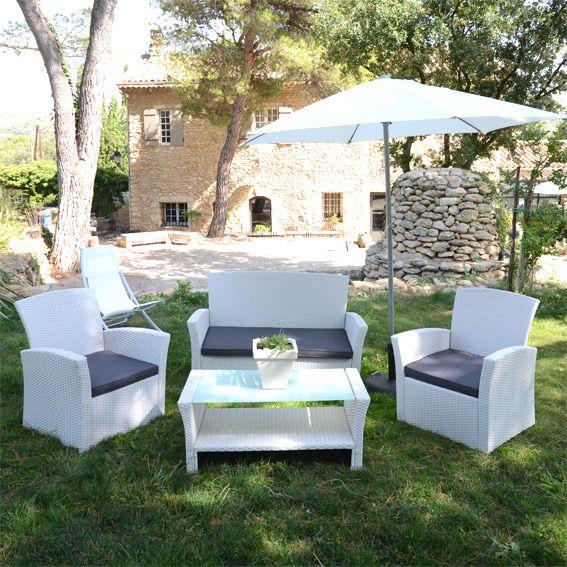 Salon de jardin Résine Tressée Ibiza Blanc : Eminza, achat ...