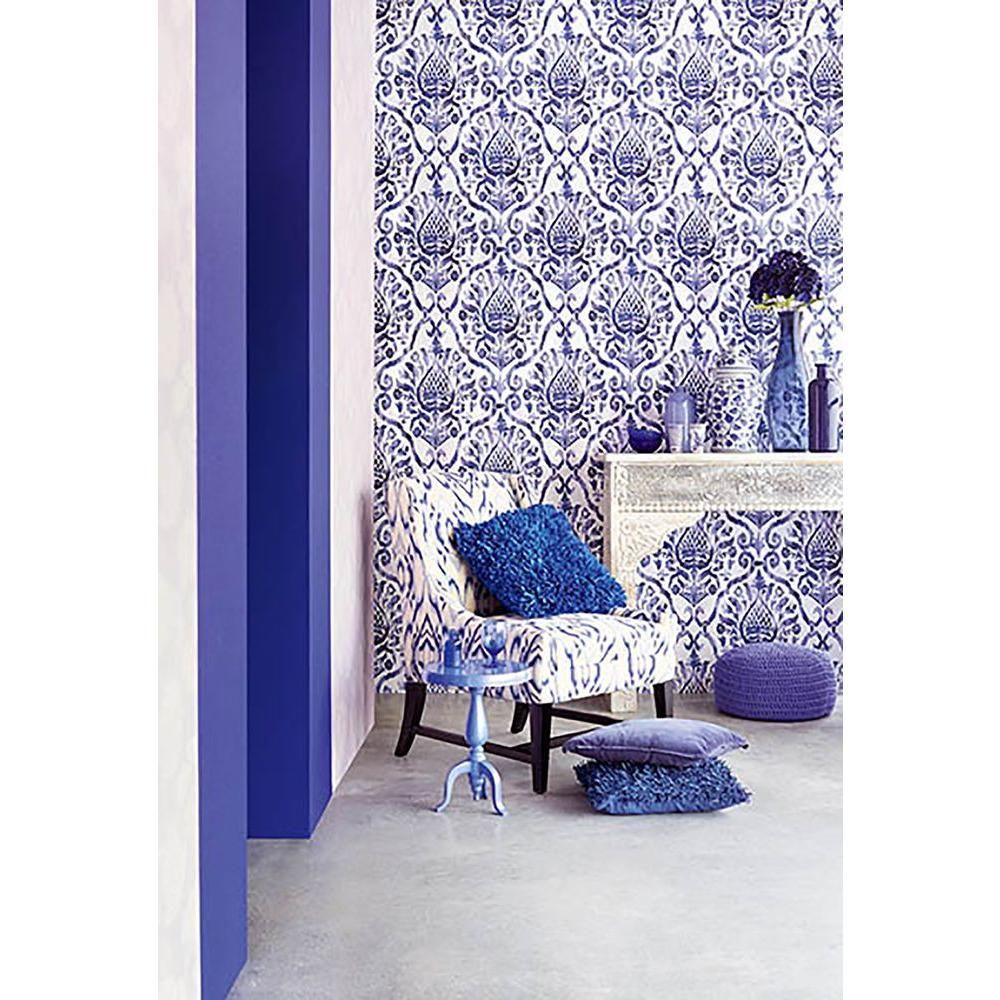 Brewster 56 4 Sq Ft Argos Sapphire Damask Wallpaper 353053