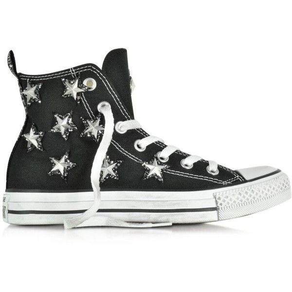 1e3d2ef38ec9eb Converse Limited Edition All Star Hi Black Canvas and Silver Stars... ( 135