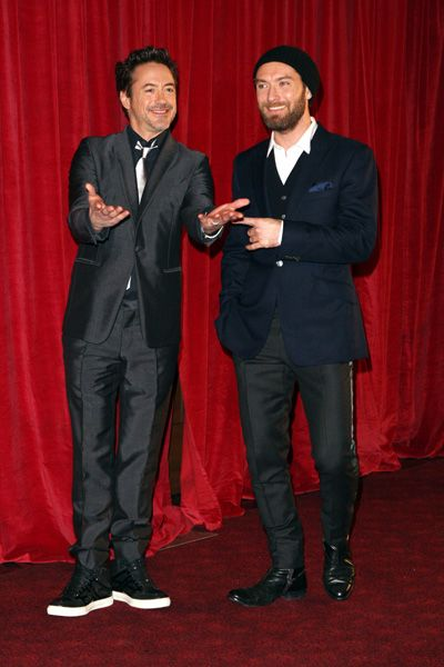 Robert Downey Jr and Jude Law have fun at Sherlock Holmes 2 premiere