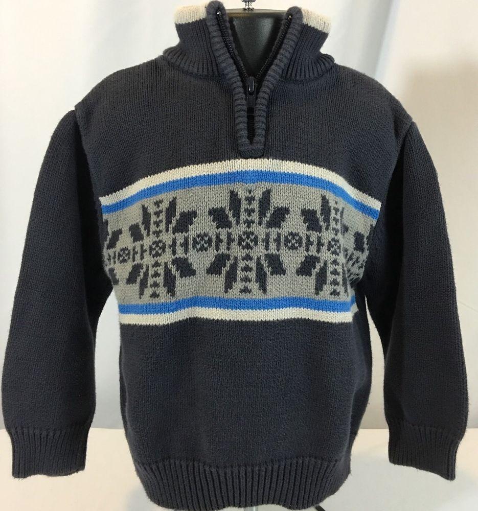 f18e72e46 Gymboree Boys 3 Fair Isle Nordic Zip Neck Pullover Sweater Gray ...