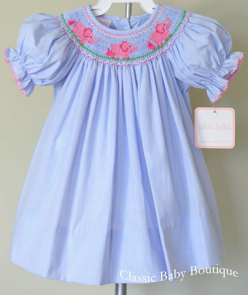 Blue christmas dress 4t - Details About Nwt Petit Bebe Blue Elephant Smocked Bishop Dress 3 6 9 12 18 24 Months Girls