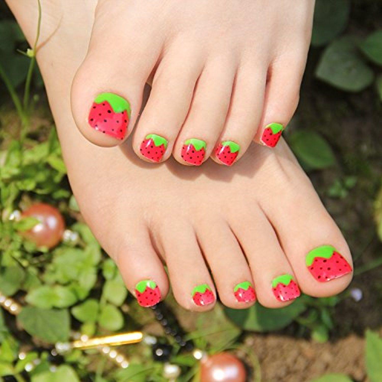 24pcs Summer Strawberry False Toe Nail Foot Patch Toenails for Women ...