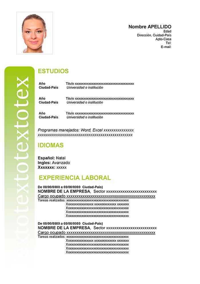 Modelo De Curriculum Sencillo Para Rellenar Cv Word Curriculum Vitae Examples Curriculum Vitae Resume Words