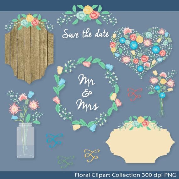 Rustic Wedding Clipart Floral Mason Jar Arrangement Wreath Bouquet Heart Laurel