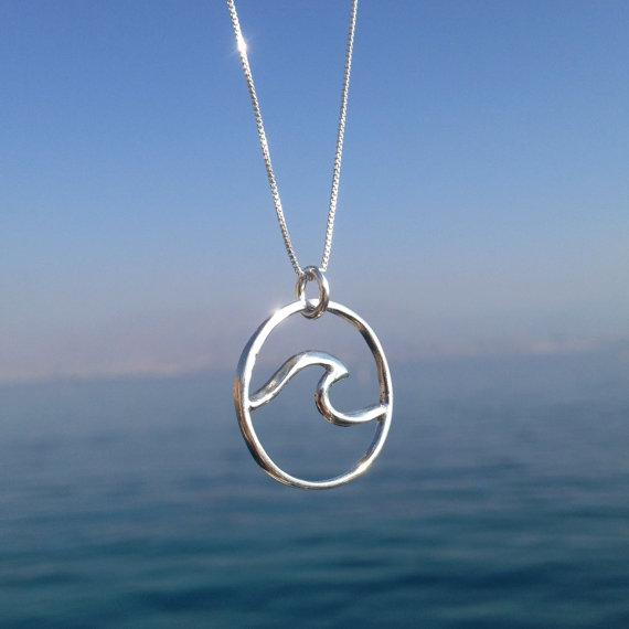Sterling Silver Ocean Wave Necklace