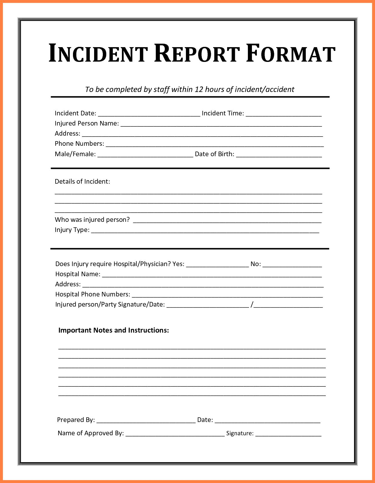 Contoh Incident Report Falep.midnightpig.co intended for